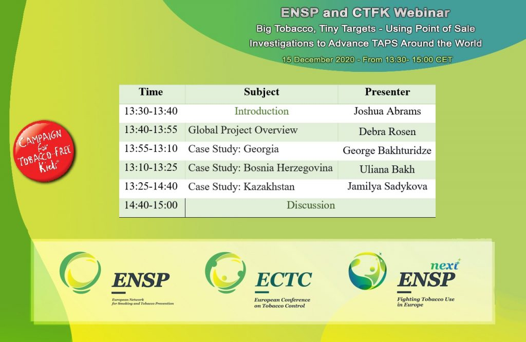 ENSP-CTFK Webinar: Using Point of Sale Investigations to Successfully Advance TAPS Policy